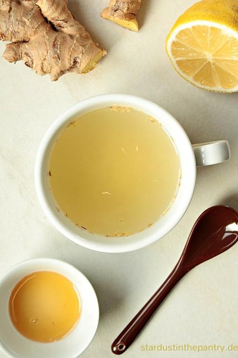 Zutaten für einen frischen Ingwertee. Ingwer schütz vor Erkältung und hilft bei Übelkeit. Also unbedingt ausprobieren!
