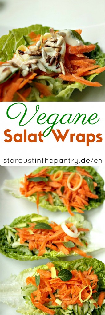 Clean eating - vegane Salat Wraps Schiffchen mit Ingwer Soße. Perfekt für ein leichtes und gesundes Mittagessen oder Abendessen.