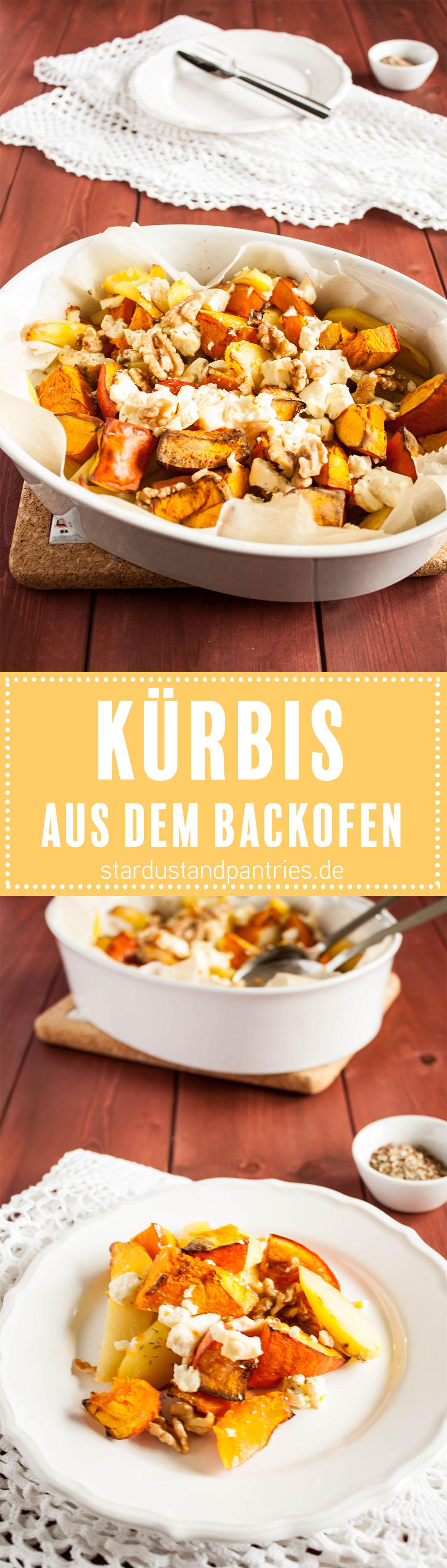 Leckerer Ofenkürbis mit Kartoffeln, Rosmarin und Feta. Ein einfaches Gericht für kühle Herbsttage! Gratis Rezeptkarte zum Runterladen auf dem Blog!