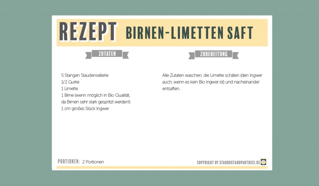 Rezeptkarte Limetten Birnen Saft