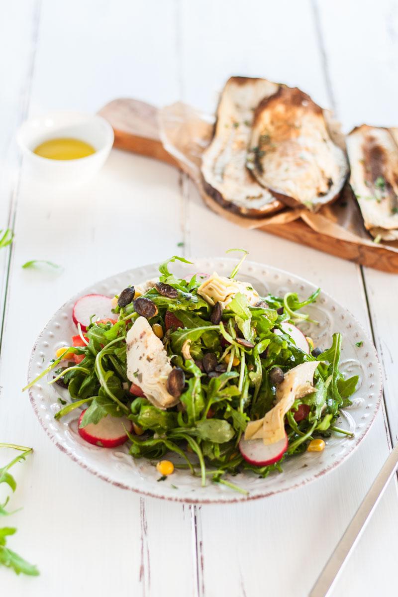 vegan monday mediterraner rucola salat mit artischocken stardust and pantries. Black Bedroom Furniture Sets. Home Design Ideas
