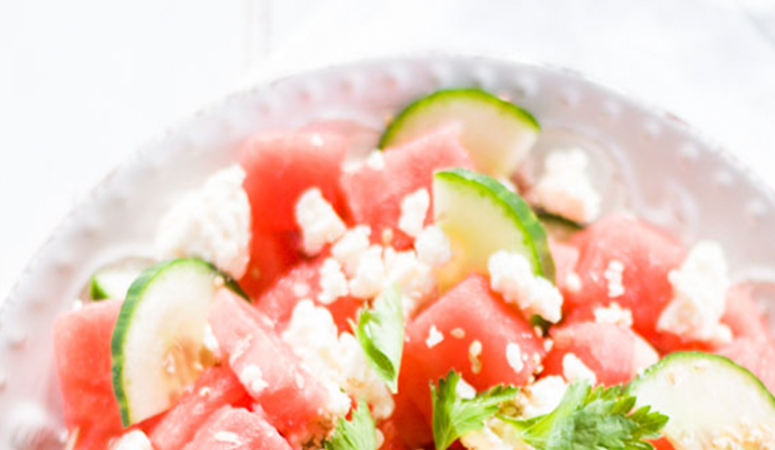 Melonen Feta Salat mit Gurke