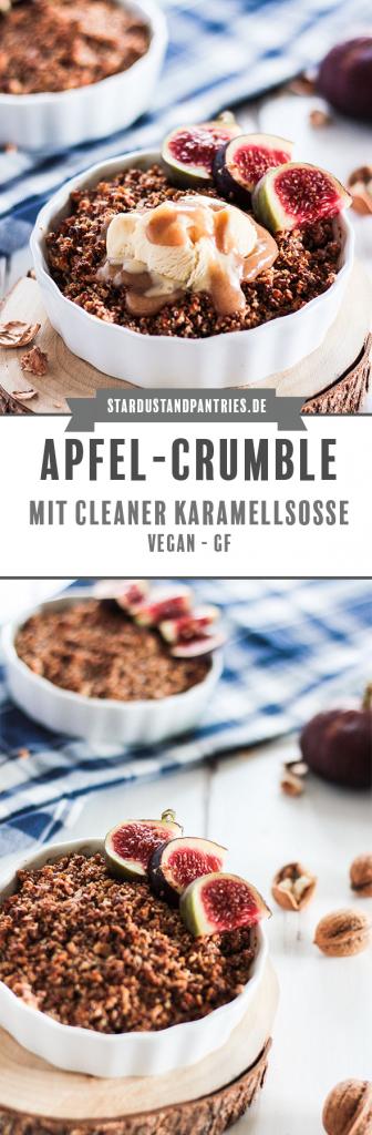 Veganes Apfel-Crumble mit cleaner Karamellsoße. Ein sehr leckeres und zuckerfreies Dessert. Perfekt für gemütliche Herbst/Winterabende. #Crumble #vegan #glutenfrei #Dessert