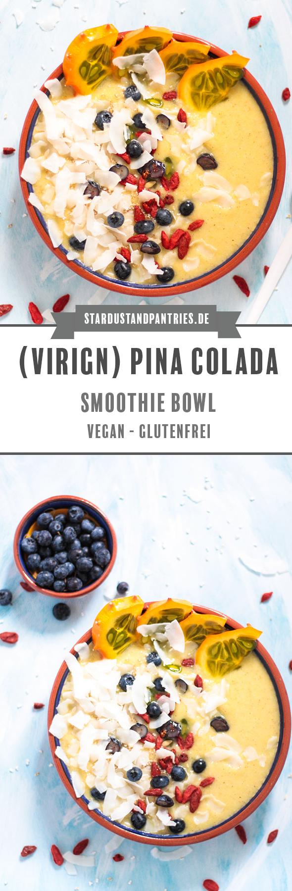 Vegane tropische Smoothie Bowl mit Ananas, Gurke und Kokosnusswasser oder wie ich sie nenne: Pina Colada Smoothie Bowl. So zauberst du dir ein farbenfrohes Frühstück mit Sommer Feeling und startest voller Vitamine und Mineralstoffe in den Tag! #Smoothiebowl #Smoothie #Bowl #vegan #Pinacolada