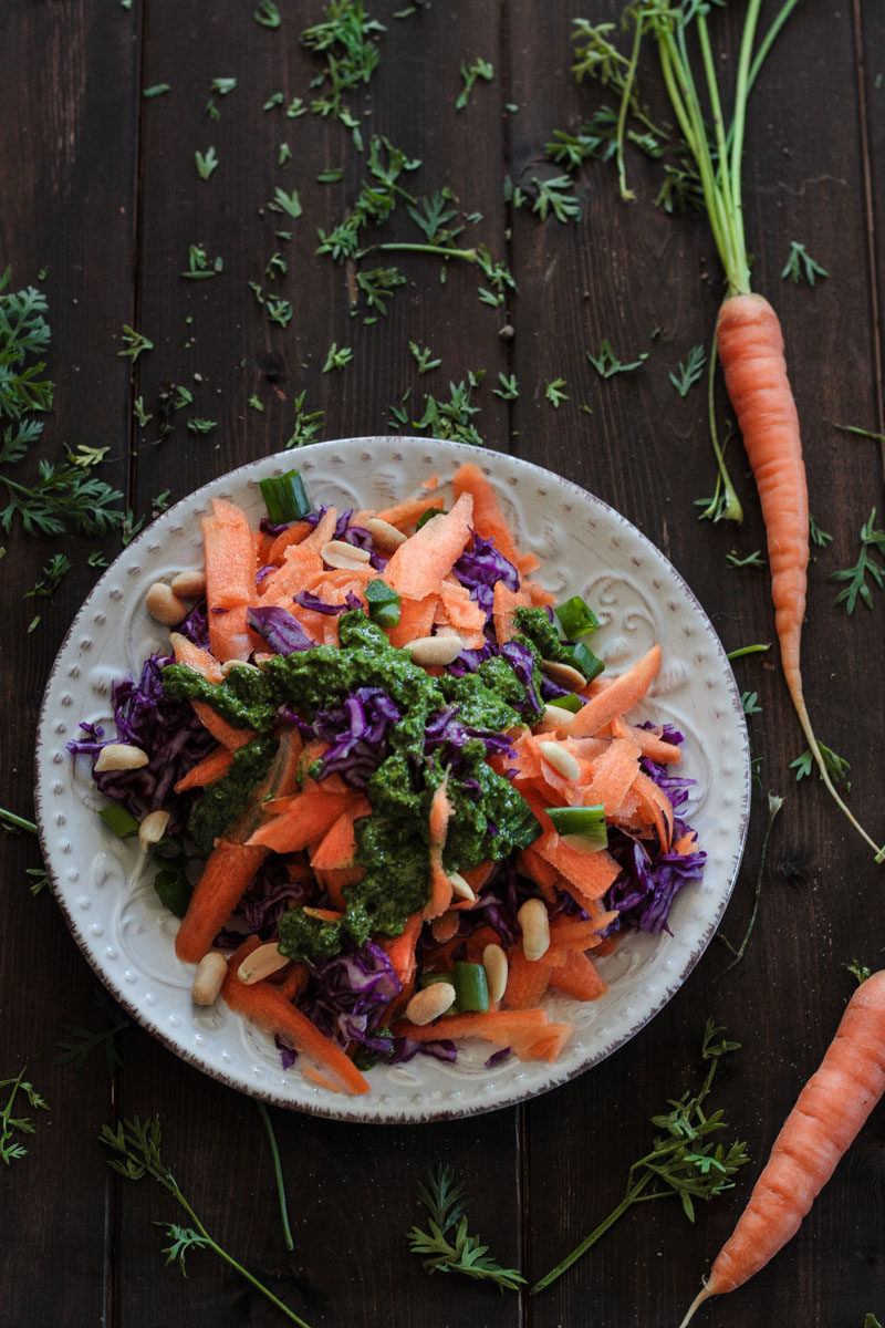 Schneller Karotten-Rotkohl-Salat mit frischem Karottengrün-Dressing - genau das Richtige, wenn mal wieder mehr Rohkost auf den Teller soll! #Rohkost #Karotten #Karottensalat #Salat #vegan #glutenfrei #Rotkohl