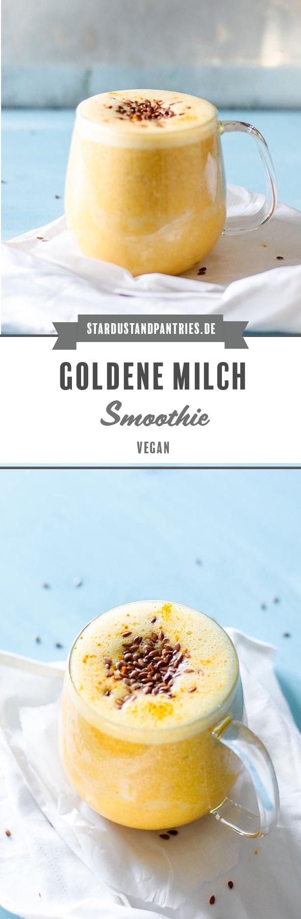 Ein veganer Goldene Milch Smoothie versorgt dich mit entzündungshemmenden Stoffen - perfekt für Unterwegs und für Zwischendurch, wenn du einen kleinen Energieschub für dein Immunsystem brauchst! #Kurkumalatte #Smoothie #Goldenemilch #Vegan