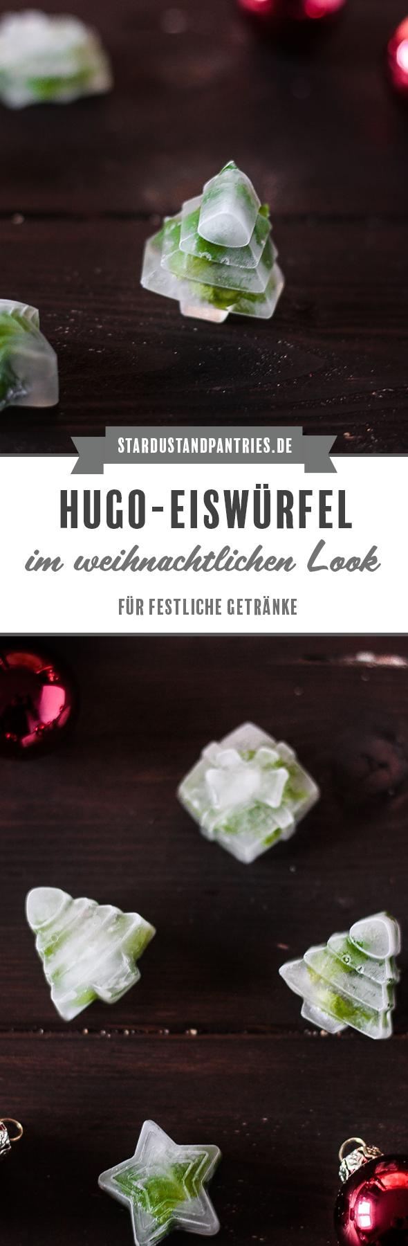 Hugo-Eiswürfel im weihnachtlichen Look sind ein witziger Hingucker im Sektglas!