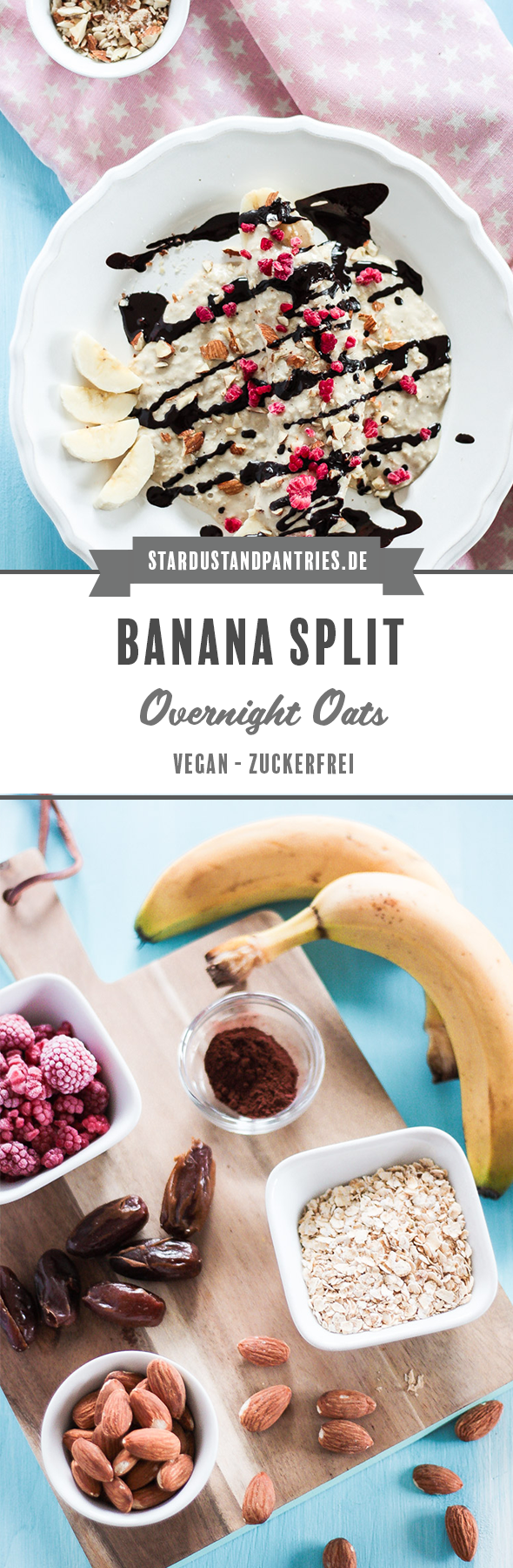 Ein Dessert-inspieriertes Frühstück mit vielen Ballaststoffen, Banane, Mandeln und Himbeeren. Ein veganes, glutenfreies und kinderfreundliches Frühstück! Zuckerfrei! #bananasplit #Overnightoats #vegan