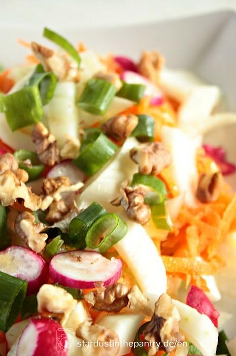 Leckerer bunter Fenchel Salat mit Walnüssen - stardustandpantries.de