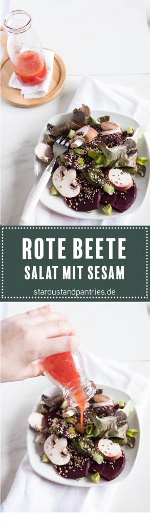 Rote Beete Salat mit Sesam und Pilzen für ein gesundes Abendessen, Low Carb Gericht.
