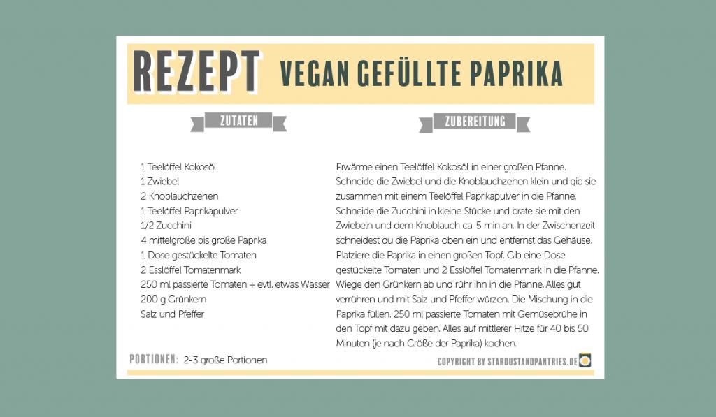 Rezeptkarte - vegan gefüllte Paprika