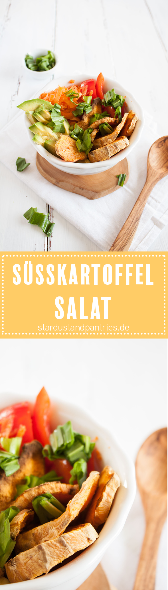Veganer und glutenfreier Süßkartoffel-Salat. Leckeres und unkompliziertes Gericht! Perfektes leichtes Abendessen. Eine Rezeptkarte gibt es auf dem Blog zum download!