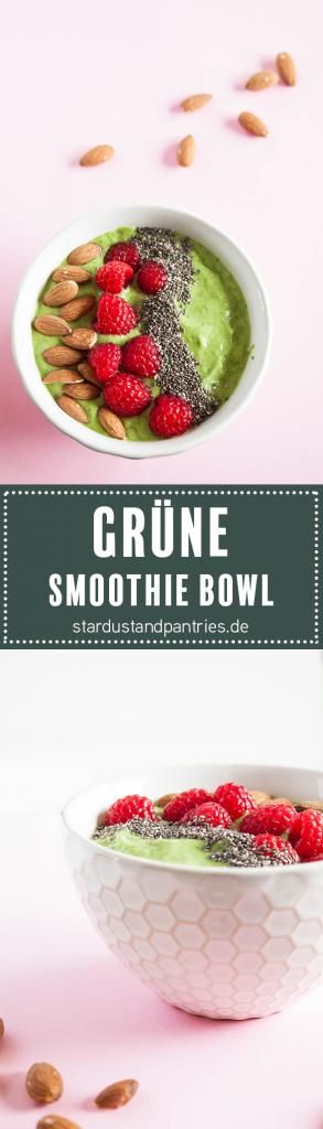 Vegane und glutenfreie grüne Smoothie Bowl mit gesundem Superfood Topping sorgt für ein sättigendes Frühstück.