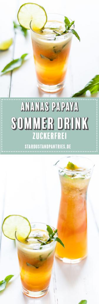 Zuckerfreier Sommer Drink mit Ananas und Papaya. Fruchtige Erfrischung an heißen Sommertagen ohne Zucker, aber mit vielen Vitaminen