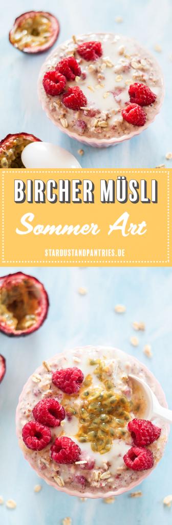 Gesundes veganes Bircher Müsli mit Himbeeren und Maracuja schmeckt sommerlich frisch und ist dank der süßen Früchte zuckerfrei! Das Müsli mit sommerlichen Twist ist das perfekte Frühstück für Morgenmuffel und ist super einfach zuzubereiten!
