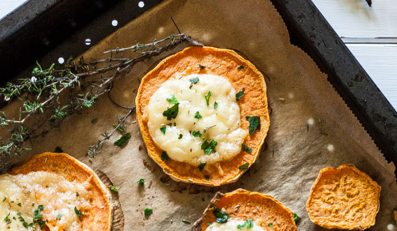 Überbackene Kräuter Süßkartoffeln