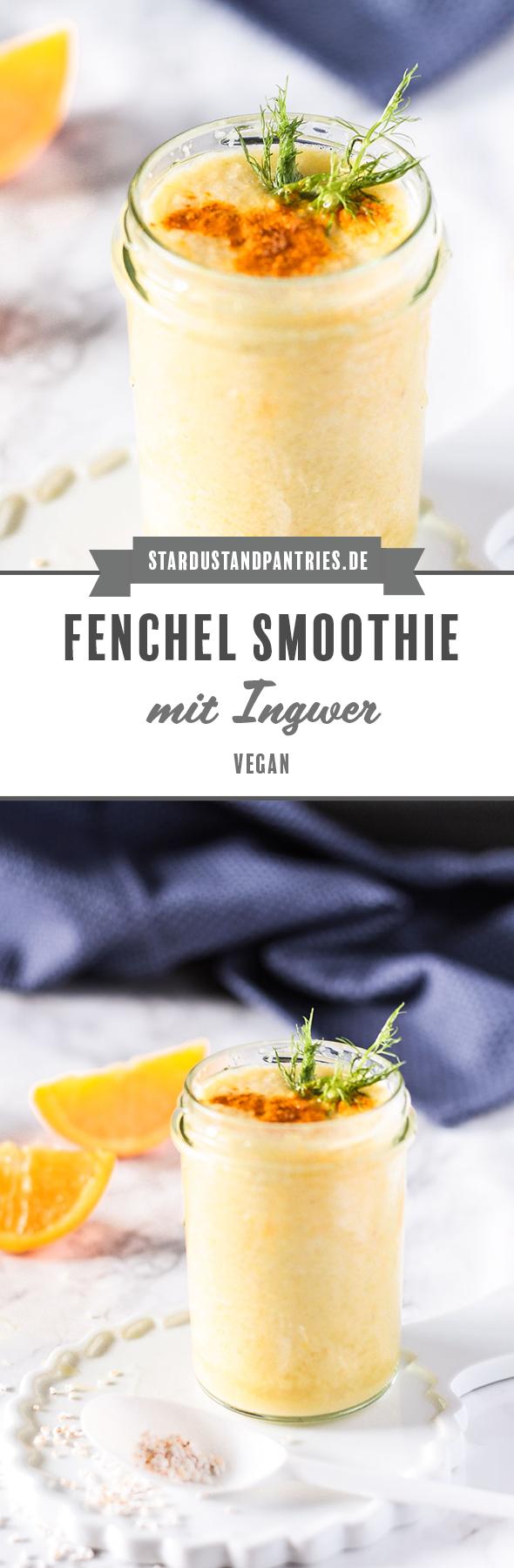 Veganer und gesunder Fenchel Smoothie mit Ingwer und Kurkuma. Ein leckerer Snack mit vielen guten Nährstoffen! #Smoothie #vegan #Fenchel #Fenchelsmoothie