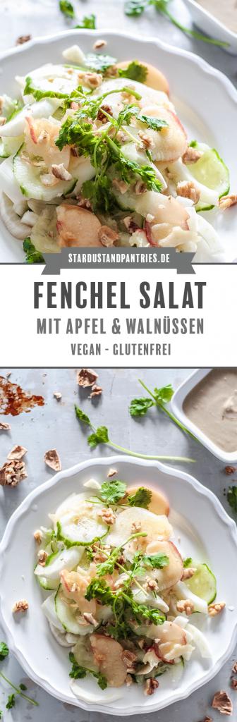 Schnell gemachter Fenchel Salat mit fruchtigen Apfelspalten und einem cremigen Ingwer Dressing ist nicht nur super lecker, sondern versorgt dich auch noch mit vielen Vitalstoffen! #Salat #Fenchel #vegan