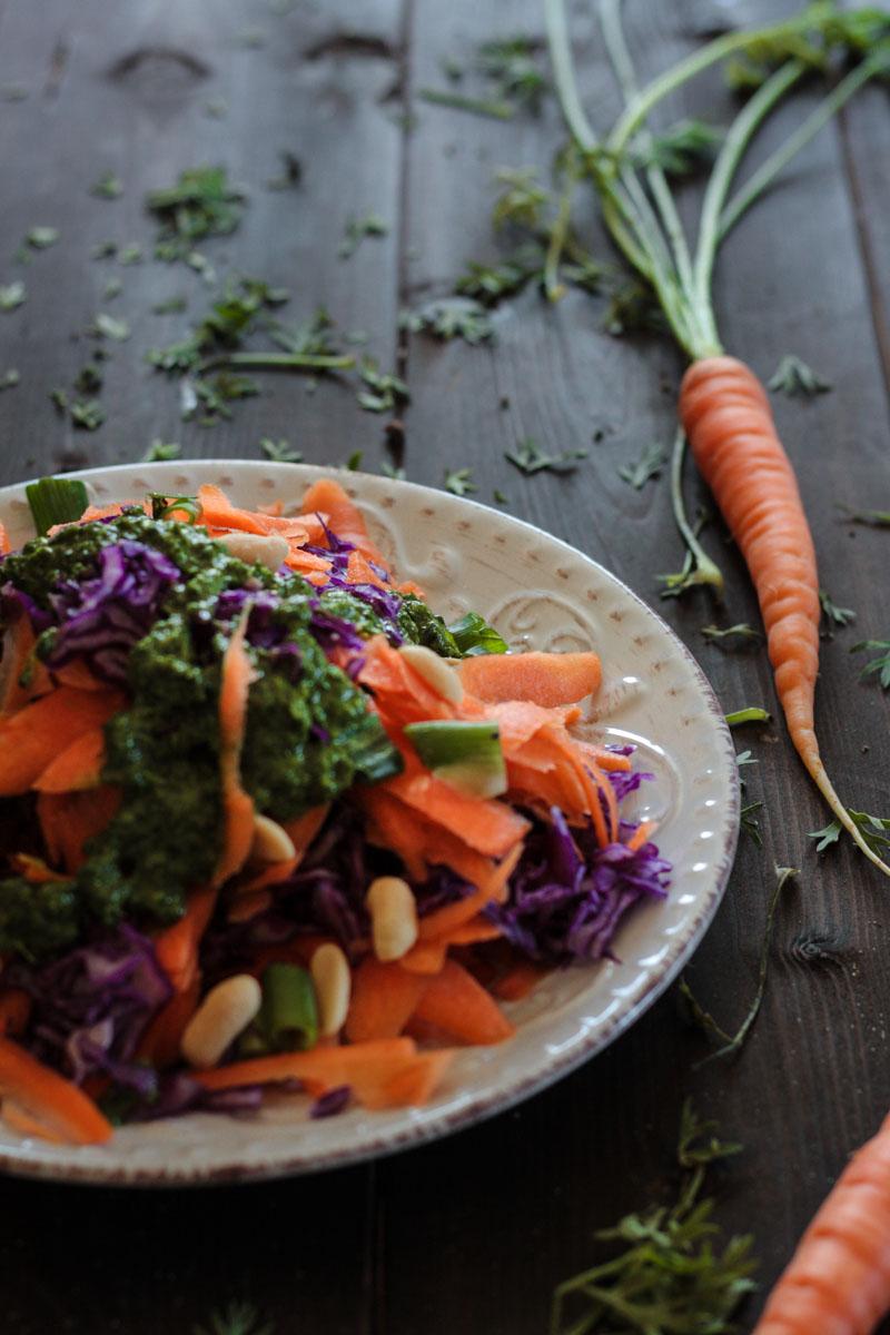 veganer karotten rotkohl salat mit karottengr n dressing. Black Bedroom Furniture Sets. Home Design Ideas