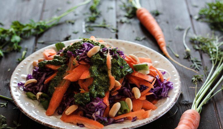 Vegan Monday – Karotten-Rotkohl-Salat mit Karottengrün-Dressing