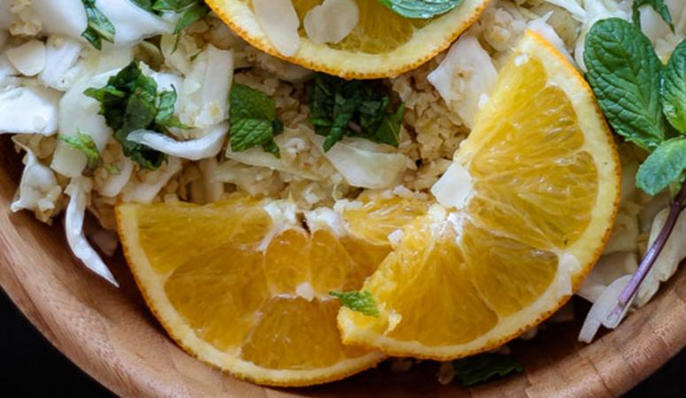 Veganer Bulgur Minze Salat mit Orangendressing