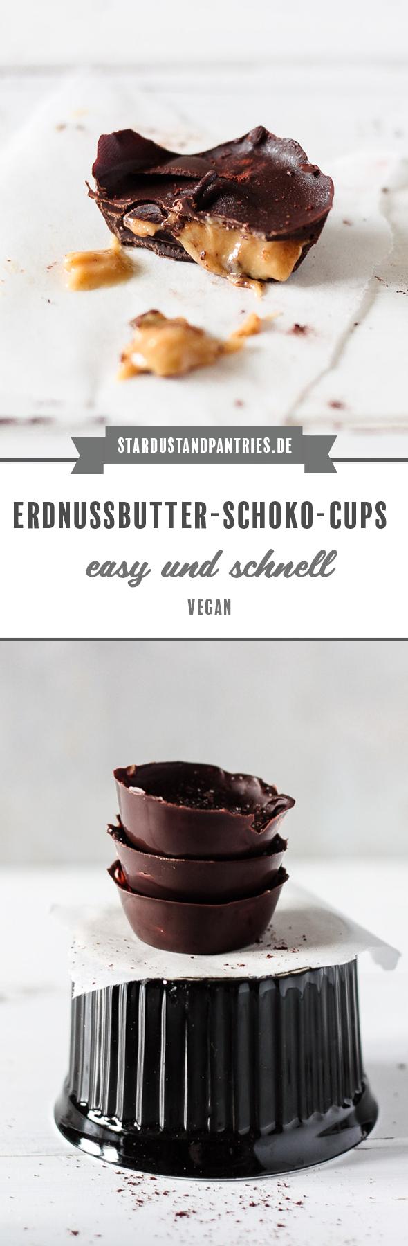 Selbstgemachte Schokoladen-Erdnussbutter-Cups mit nur 4 Zutaten! Das perfekte Dessert für alle Erdnussbutter-Liebhaber/innen! #Peanutbuttercups #Schokolade #Chocolate