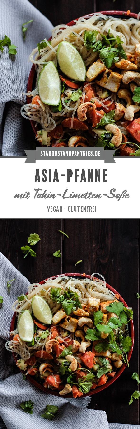 Asiatische Küche: Eine gesunde und sättigende Asia Pfanne mit knackigem Gemüse und Glasnudeln in leckerer Tahin-Limetten-Soße. Ein leckeres Abendessen unter der Woche! #Asiapfanne #Gemüsepfanne #Thai #asiatischeküche