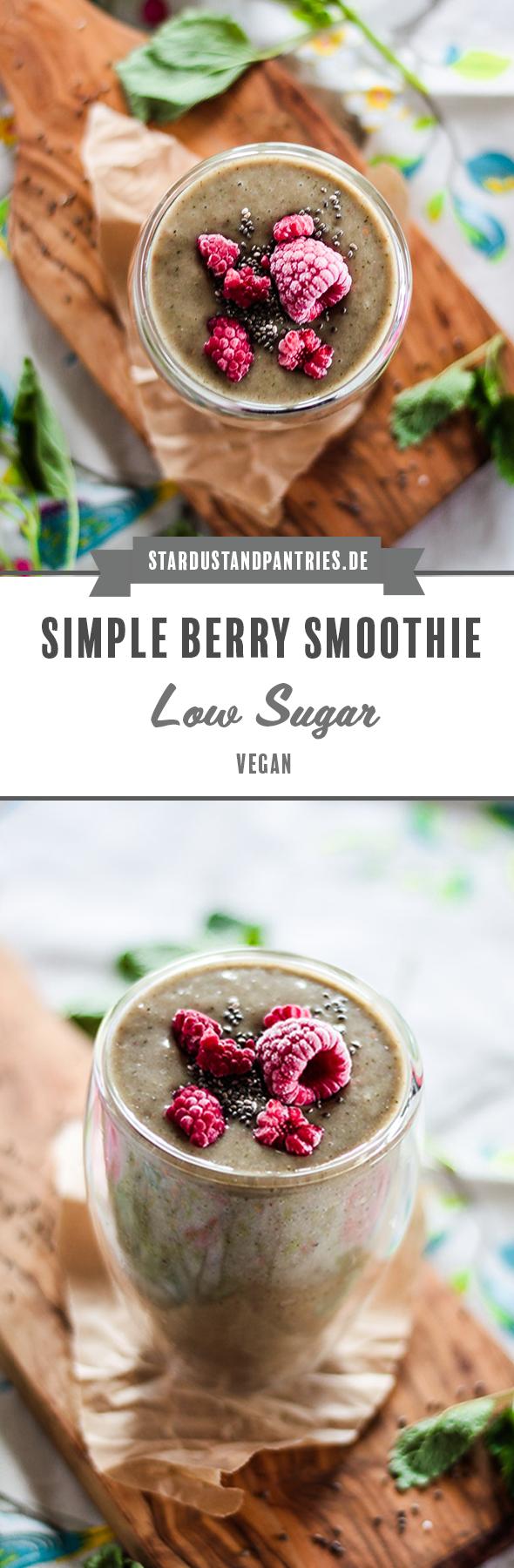 Ein einfacher und leckerer grüner Low Sugar Smoothie mit Himbeeren bringt viele Vitamine und Antioxidantien für schöne Haut!