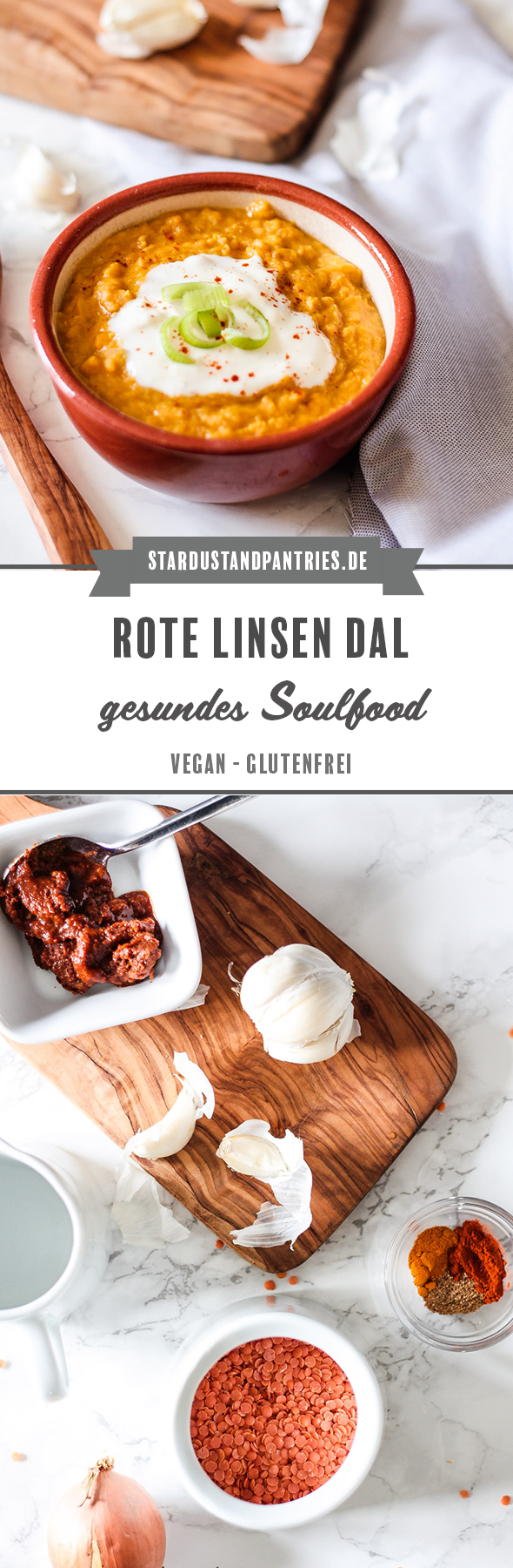 Leckeres veganes rote Linsen Dal - ein gesundes Soulfood! Dieses Dal ist wirklich einfach zuzubereiten und eignet sich auch als Abendessen für unter der Woche!#dal #vegan #soulfood