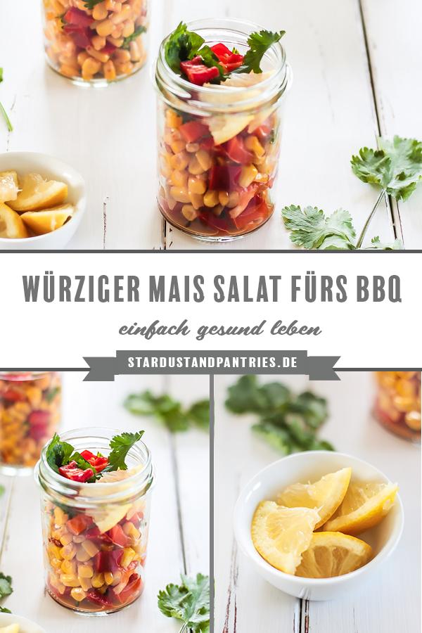 Ein schnelles und würziges Mais Salat Rezept mit frischem Koriander und feiner Chilinote. Ein perfekter Beilagensalat für's Grillfest! #Grillen #Salat #Grillsalat