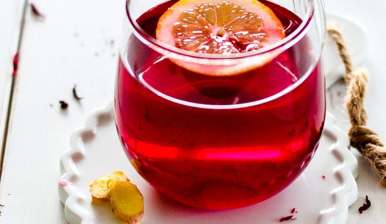 Zitronen-Hibiskus-Ingwer-Tee