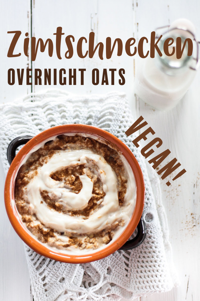 Leckere vegane Zimtschnecken Overnight Oats sind ein gesundes und sättigendes Frühstück! Mit glutenfreien Haferflocken kannst du sie auch glutenfrei zubereiten!