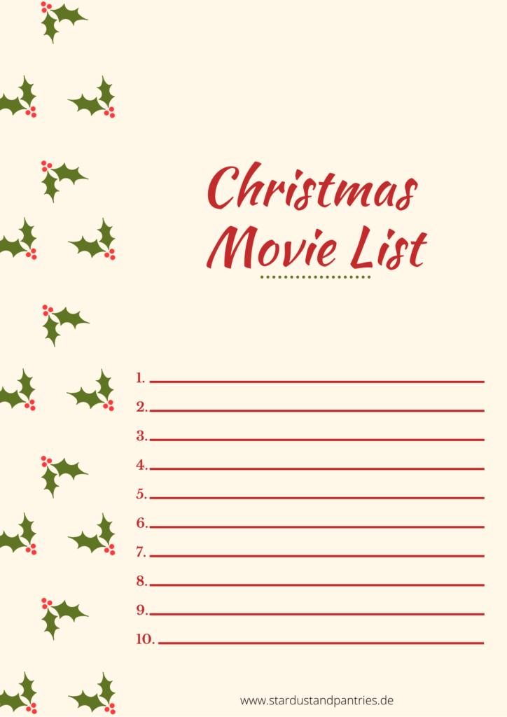Weinachtsfilm Liste zum ausfüllen. Finde neue Traditionen für die Vor- Weihnachtszeit für dich alleine, euch beide oder die ganze Familie. Mache die schönste Zeit des Jahres noch ein bisschen magischer! Weihnachtsfilm Liste Vorlage